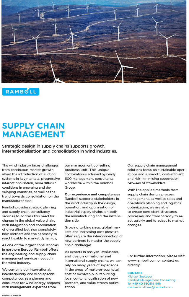 Strategic design in supply chains supports growth, internationalisation and consolidation in wind industries