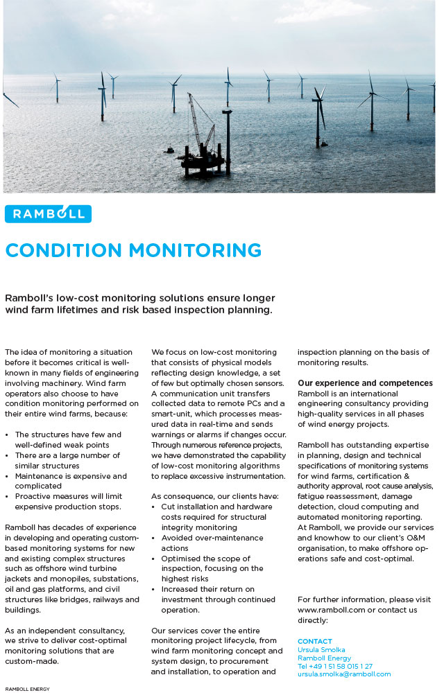 Ramboll's low-cost monitoring solutions ensure longer wind farm lifetimes and risk based inspection planning.