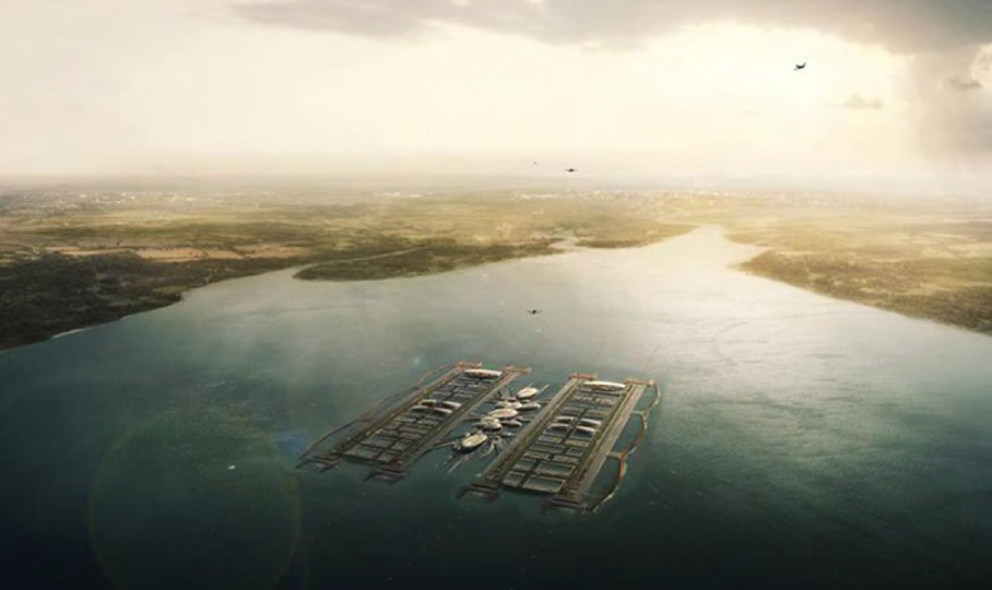 Conceptual floating airport for London. Image: Gensler