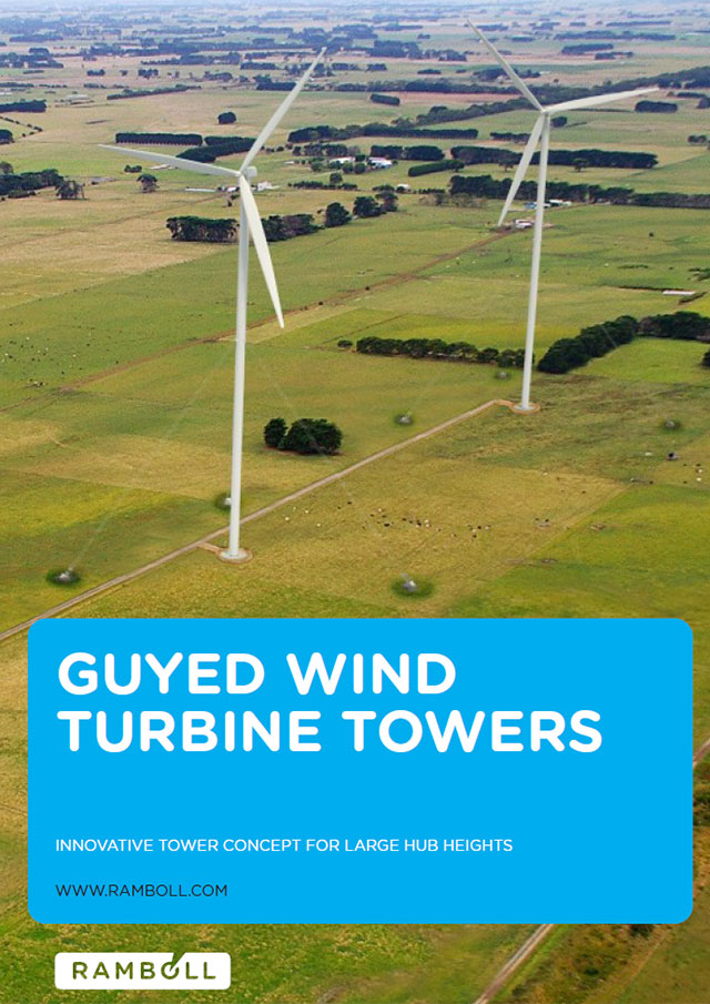 Front page of brochure on guyed wind turbine towers