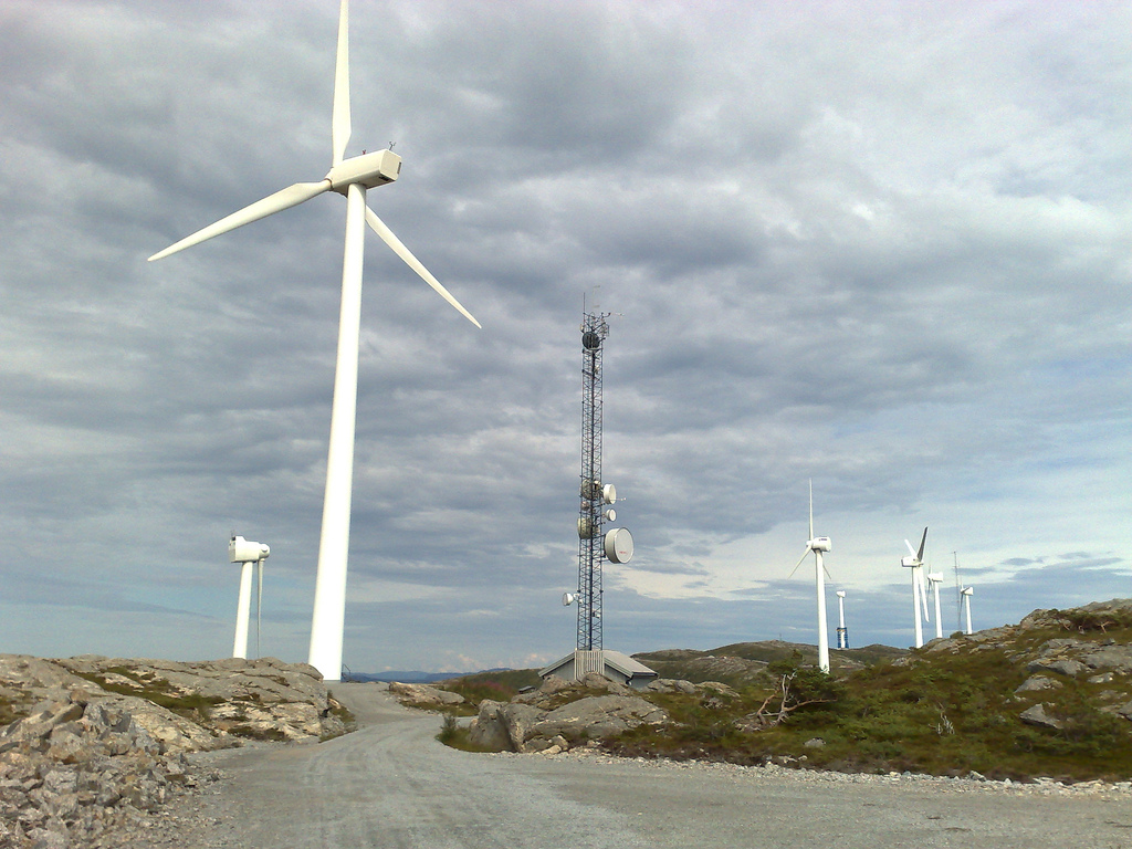 Windmills at Hundhammarfjellet in Nærøy, Norway