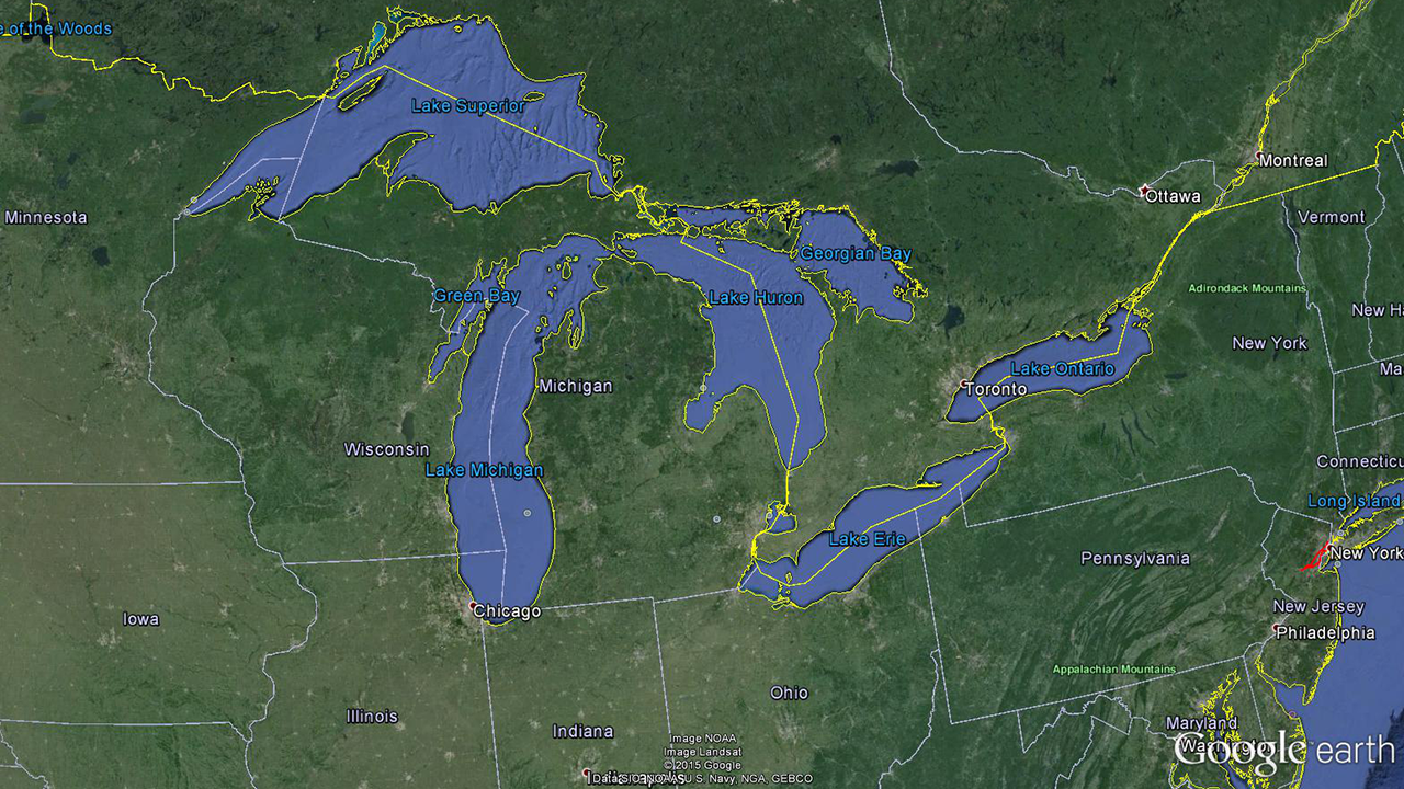 Taken from Google Earth- Great Lakes Area where water quality is regulated under the Great Lakes Initiative (40 CFR 132)