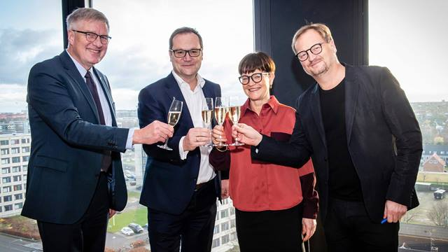 From left - Søren Holm Johansen, Group Executive Director, Ramboll, Jens-Peter Saul, CEO, Ramboll, Mette Kynne Frandsen, CEO and Partner, Henning Larsen, Louis Becker, Partner and Design Principal, Henning Larsen. Photo: Matthew James