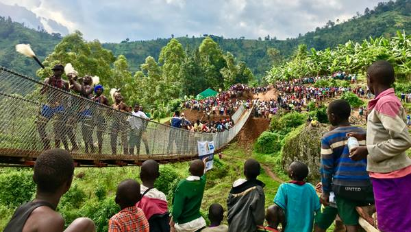 The inauguration of the footbridge across the Ngame in Uganda in 2018
