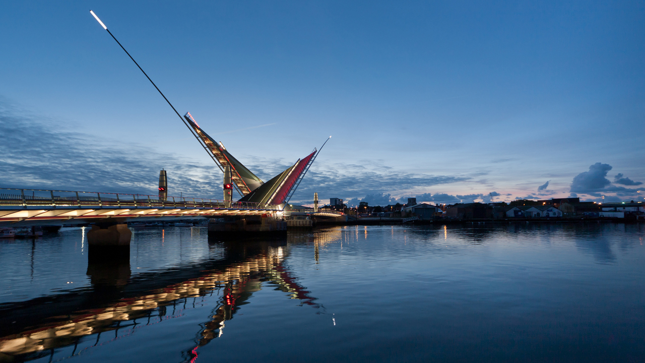The Twin Sails bridge, Poole Harbour, Dorset UK. Ramboll