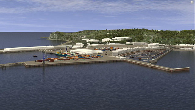 Port of Dover. Artist impression of Dover Western Docks Revival (DWDR) development, where Ramboll is designing the marine structures.