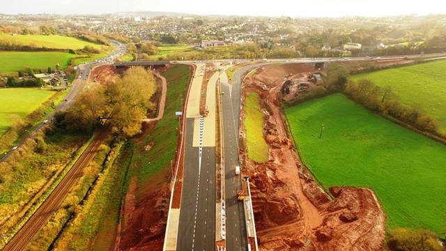 Skyflicks Media. The South Devon Link Road looking south towards Torbay  - photo taken one week before it opened to traffic on 15 December 2016. [Aerial photography - please contact for permission/cost of use: matt@skyflicksmedia.com, tel: 07921 850626]