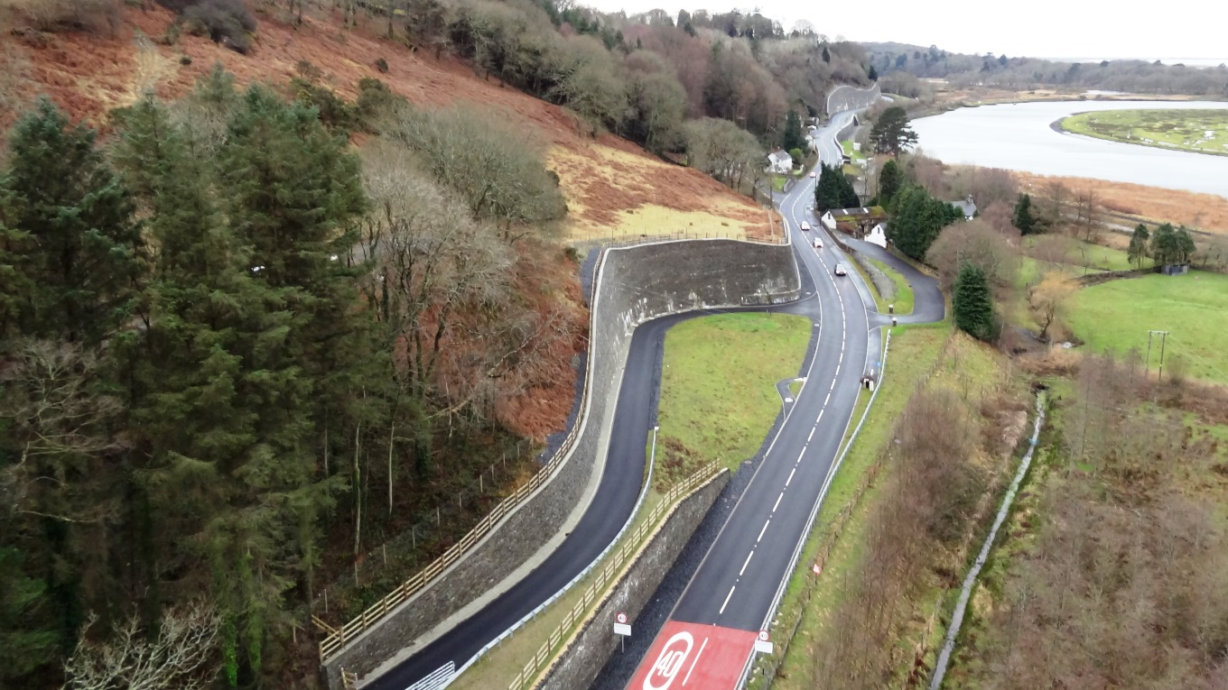 The Glandyfi bends A487 trunk road improvement, UK. (Use of image courtesy of Carillion)