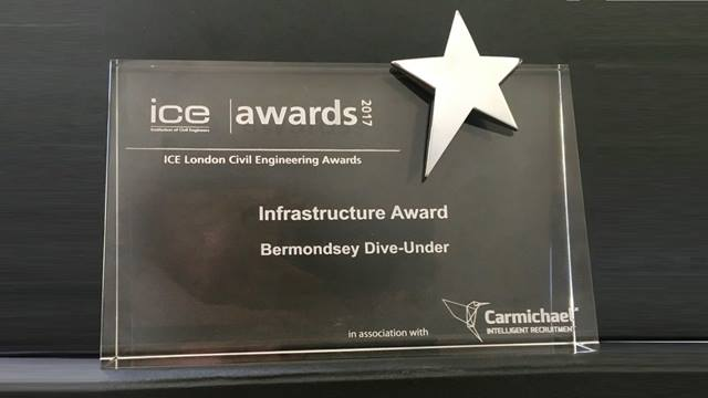 ICE. The ICE London Infrastructure award 2017 won by the Bermondsey Dive Under project