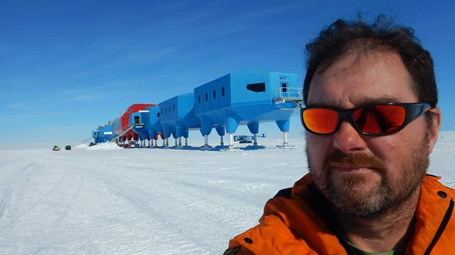 Ramboll. Ben Rowe in front of Halley VI.