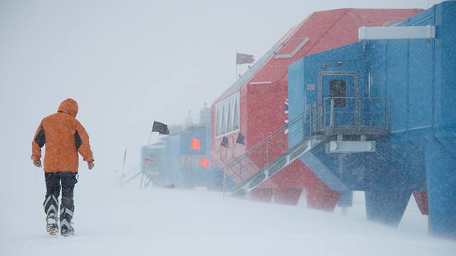 Image: British Antarctic Survey. Ben walking to work.