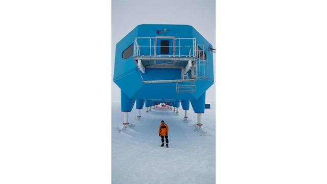 Image: British Antarctic Survey. Ben Rowe in front of Halley.