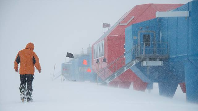 Image: Courtesy of  British Antarctic Survey. Halley Relocation. Walking-to-work