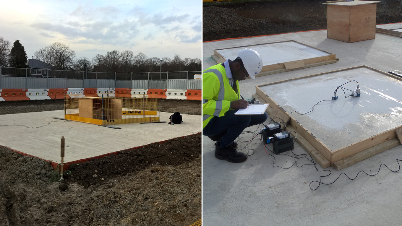 Ramboll vibration engineers take measurements on the proof of concept slabs to validate their analysis predictions. Image: Ramboll