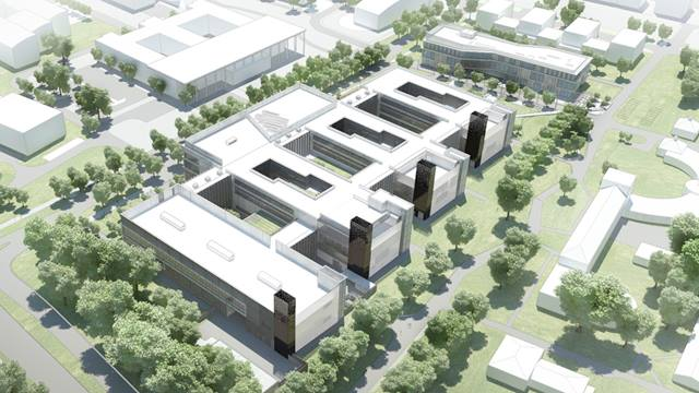 Artist impression of aerial view of Cavendish Laboratory and Shared Facilities Hub design, University of Cambridge. Image: Jestico + Whiles