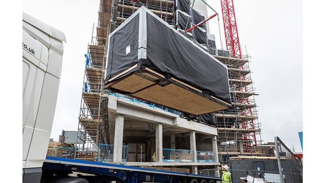 348 self-contained student accommodation studios, constructed using offsite construction, are lifted into place