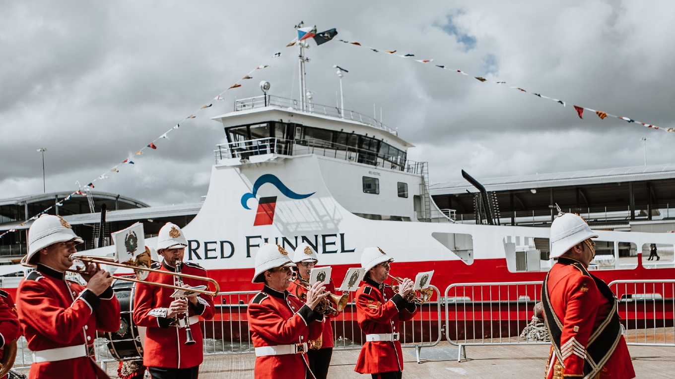 The Great British-themed naming ceremony, celebrating Red Kestrel being built in the UK, took place in Southampton docks by the Ocean Terminal . © Red Funnel
