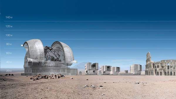 Composite image compares the size of the Extremely Large Telescope with the Colosseum in Rome (credit: ESO/L. Calçada)