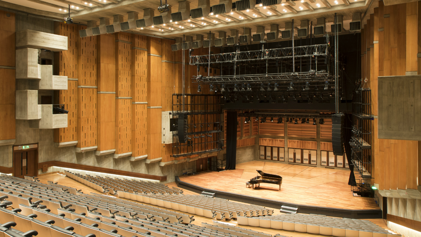Refurbished stage at Queen Elizabeth Hall, Festival Wing, Southbank Centre