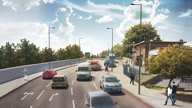 Artist's impression of  'A23/A232 Fiveways Croydon' scheme in South London. Waddon Station Bridge. (C) Transport for London