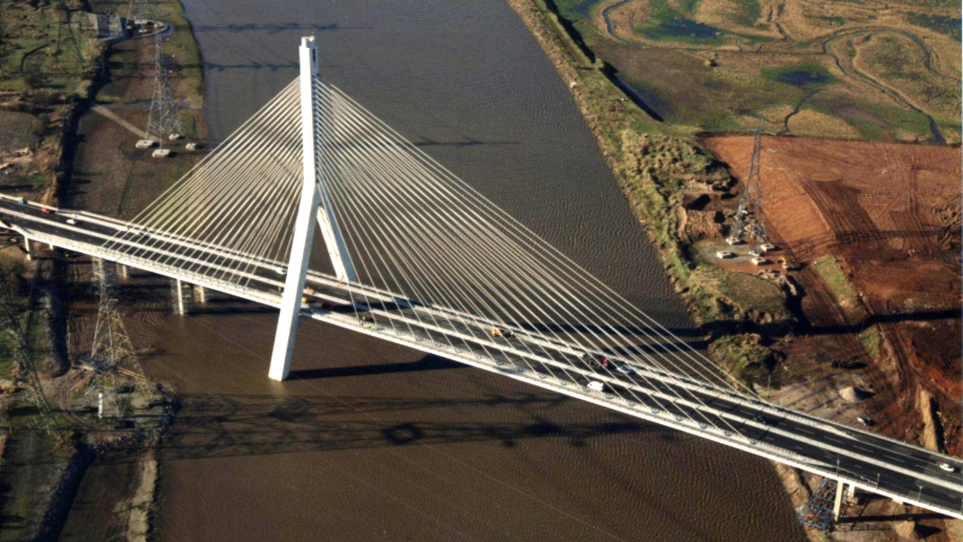 The asymmetric cable-stayed Flintshire bridge, designed by Ramboll