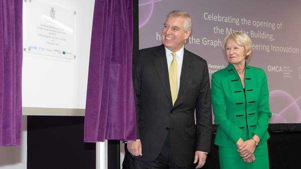 HRH The Duke of York officially opens the Masdar Building, home to the Graphene Engineering Innovation Centre