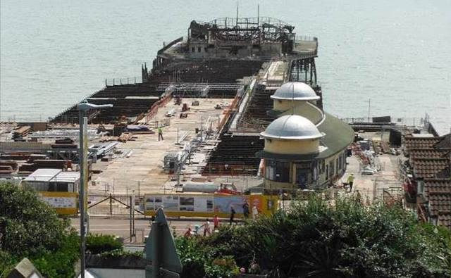 Ramboll. Hastings Pier conservation works in progress August 2014 showing the single remaining pavilion