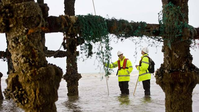 Daniel Shearing. Ramboll engineers undertook a detailed visual inspection of Hastings Pier. The 12m high Grade II listed sub-structure was difficult to survey because of its size and complexity and limited access from the beach, which depended on the tides.