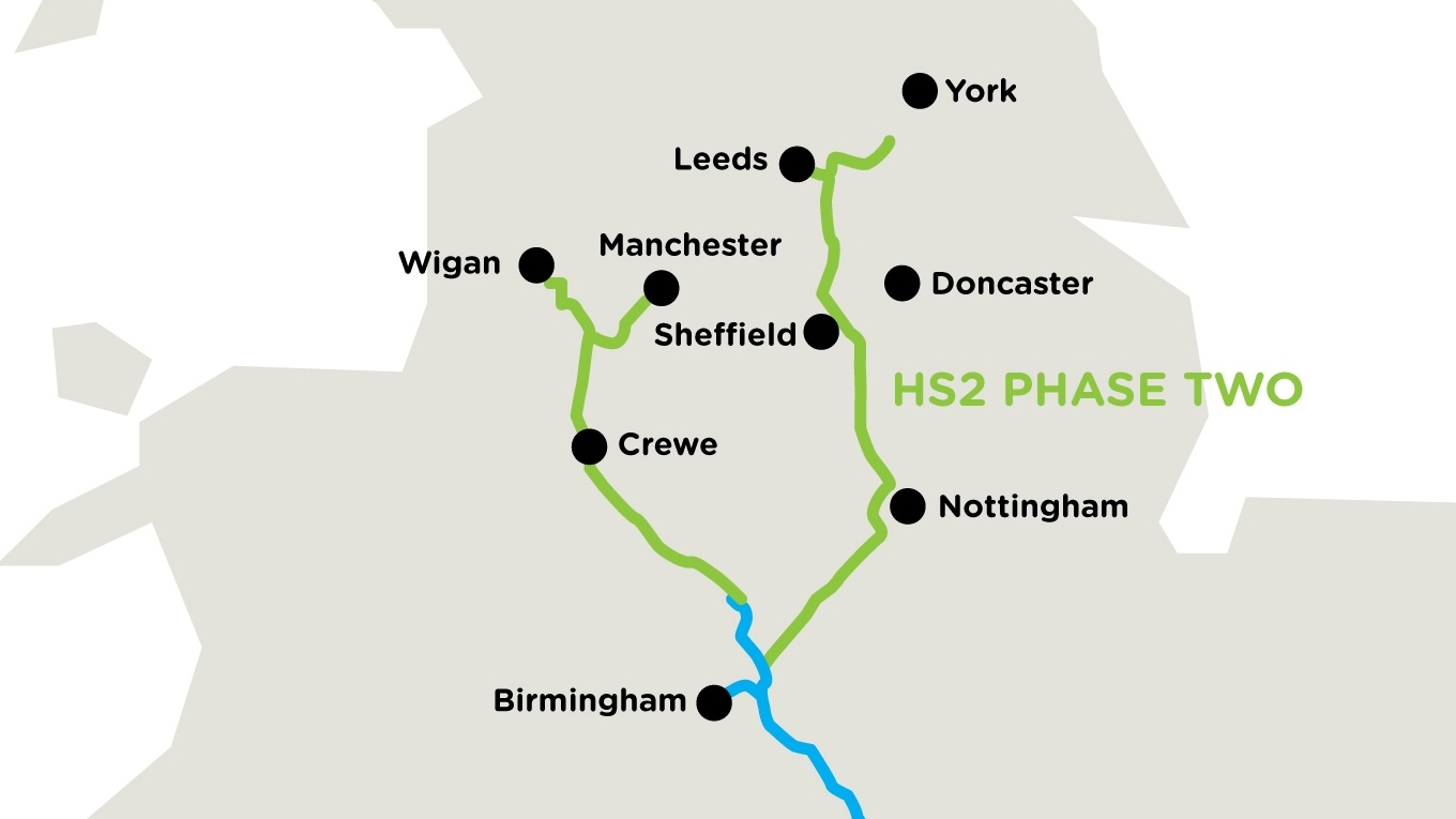 Map of the East Midlands to Leeds and York section of the High Speed line, Phase 2b