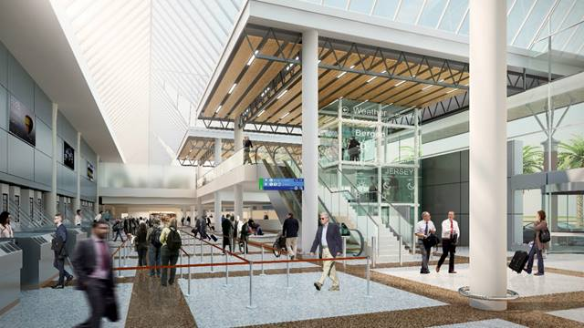 Artist's impression of the check-in at Jersey airport. Image courtesy of Ports of Jersey