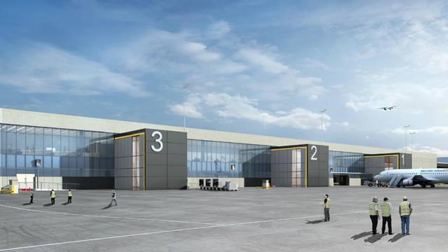 Artist's impression of the outside view of Jersey airport . Image courtesy of Ports of Jersey