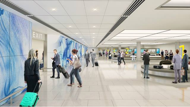 Artist's impression of the new arrivals hall at Jersey airport . Image courtesy of Ports of Jersey