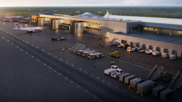 Artist's impression of Jersey airport at dusk. Image courtesy of Ports of Jersey