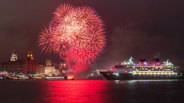 Liverpool cruise liner terminal. Disney magic - fireworks on the Mersey. Image: Liverpool City Council