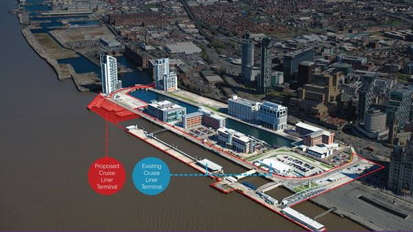 Diagram to show plans to relocate the Mersey cruise terminal. Liverpool City Council 2017