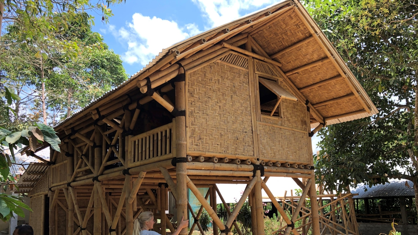 Completed sustainable bamboo template house in Lombok. Image Ramboll