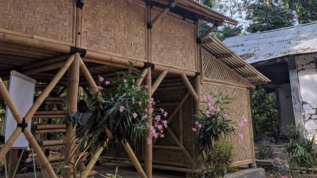 Completed bamboo house