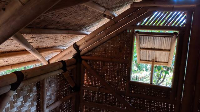 Inside the bamboo house