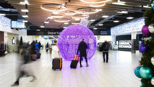 Departures area at London Luton Airport. Christmas December 2018. (c)LLA