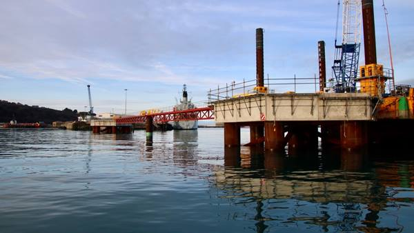 Ramboll provided detailed design and construction support for the extension of Outer Coaling Pier, Portland Port's main cruise berth © Hylton