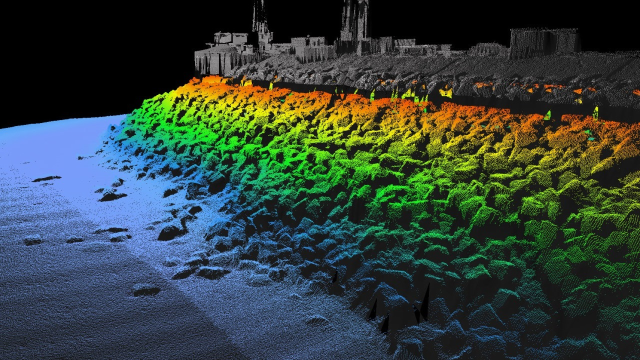 Multibeam scan of the breakwater at Portland Harbour, Dorset. Ramboll