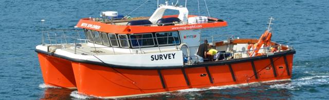 MTS Group. The MTS Xplorer survey vessel was equipped with a multibeam sonar and a laser scanner