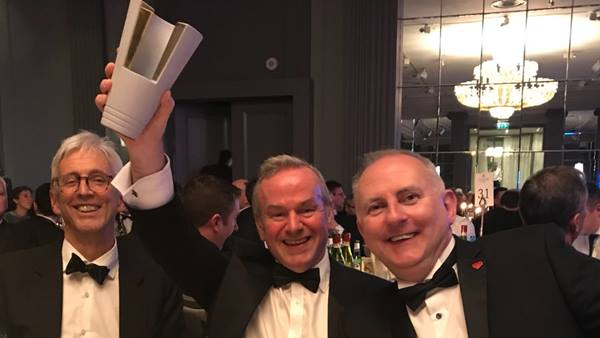 Celebrating Success, Richard Hornby, Employers Delivery Team; Peter Curran, Ramboll; David Gough, FCBC at The Concrete Society Awards 2017