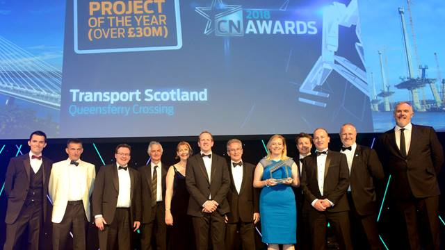 The project team collecting the Construction News Project of the Year award