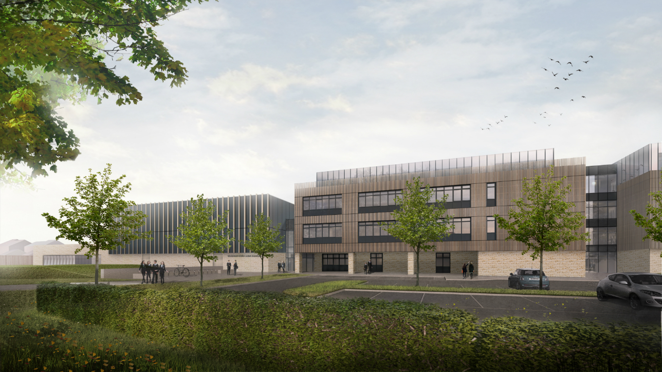 Main entrance to Queensferry High School - Image: Ryder Architects