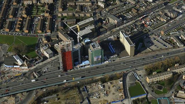 Aerial view of Rathbone Market plot during construction of Phase 1 - Image: Sisk