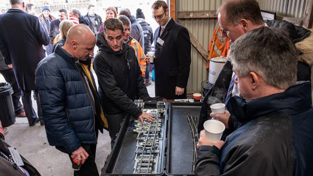 In January 2019 fifty guests including rail operators, suppliers and potential investors gathered at the Great Central Railway's Quorn and Woodhouse station for a demonstration of the results of the original research. Photo: Loughborough University
