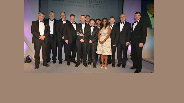In 2016 the Repoint team won the IET Innovation Award: Roger Dixon, Head of Control Systems Research Group at Loughborough University (holding the prize), Doug Green, now Head of Rail Systems at Ramboll -(second from right) and Rob Bell, TV presenter (far right). Photo IET