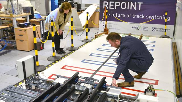Nicky Morgan MP witnessing a full scale demonstration of the Repoint track switch innovation developed at Loughborough University with help from Ramboll . Photo: Loughborough University