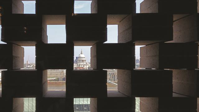 View of St Paul's Cathedral through the perforated brick. Image: Kai Richter